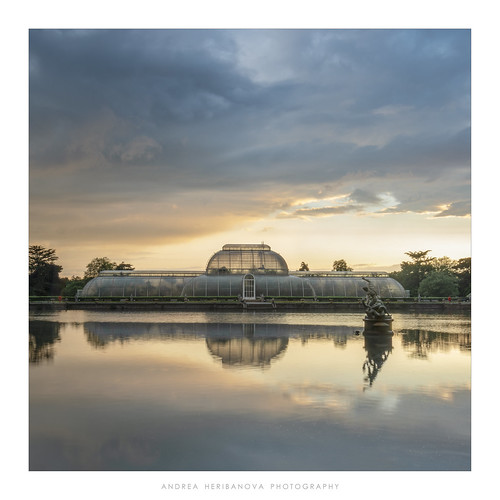 kewgardens palmhouse glasshouse reflections storm sunset pond london clouds