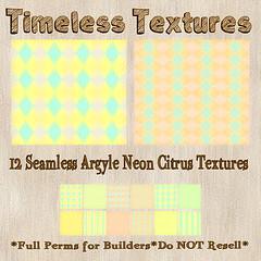 TT 12 Seamless Argyle Neon Citrus Timeless Textures