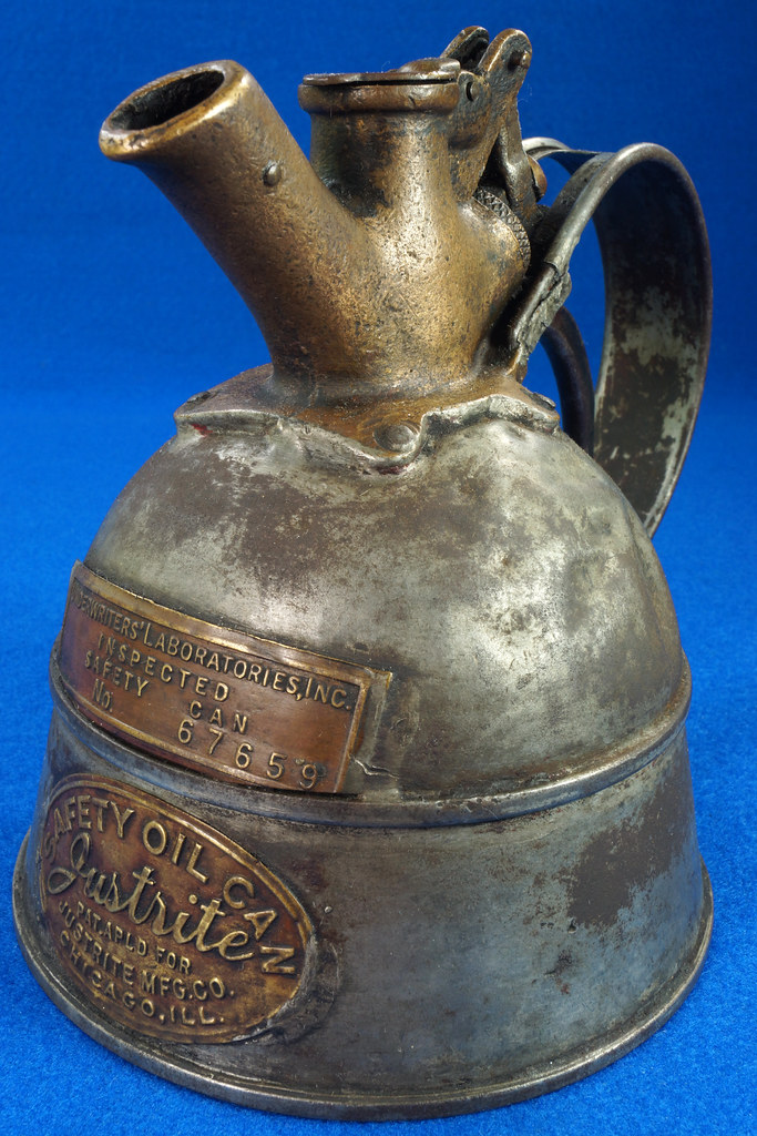 RD29023 Rare Antique Justrite Safety Can Brass Top with 2 Brass Badges No. 67659 DSC07129