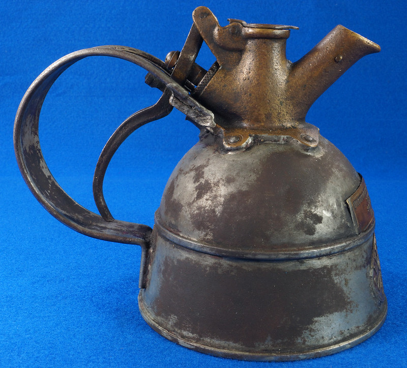 RD29023 Rare Antique Justrite Safety Can Brass Top with 2 Brass Badges No. 67659 DSC07121