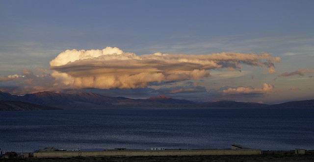 Lake Manasarovar at sunset, Tibet 2019