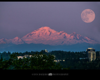 Strawberry Moon over Mount Baker, BC, Canada