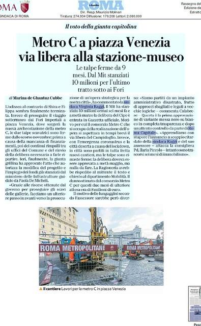 ROMA ARCHEOLOGICA & RESTAURO ARCHITETTURA 2020. Metro C a Piazza Venezia via libera alla Stazione-museo. La Repubblica (05/06/2020) & Salviamo la Metro C / Facebook (04/06/2020). Foto:  Roma, ALTARE DELLA PATRIA - Primi anni del 1900 /2008.