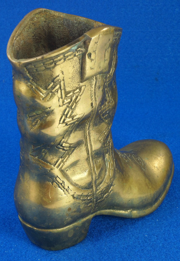 RD15817 Vintage Solid Brass Cowboy Western Boot with Patina San Francisco DSC07152