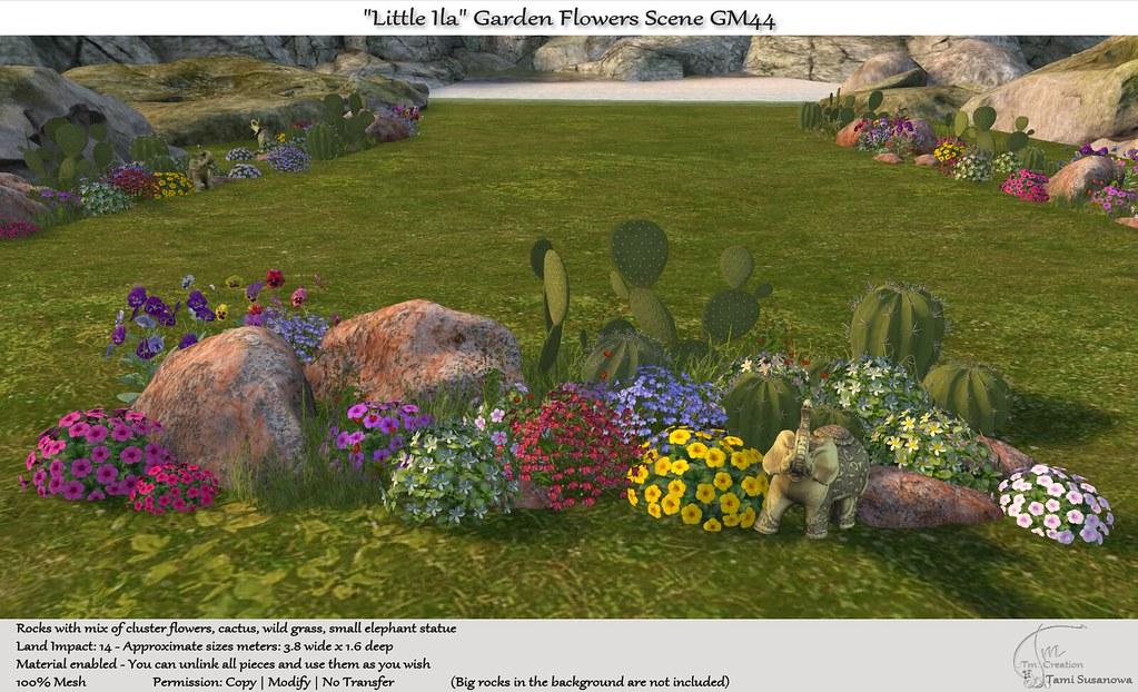 ".:Tm:.Creation ""Little Ila"" Garden Flowers Scene GM44"
