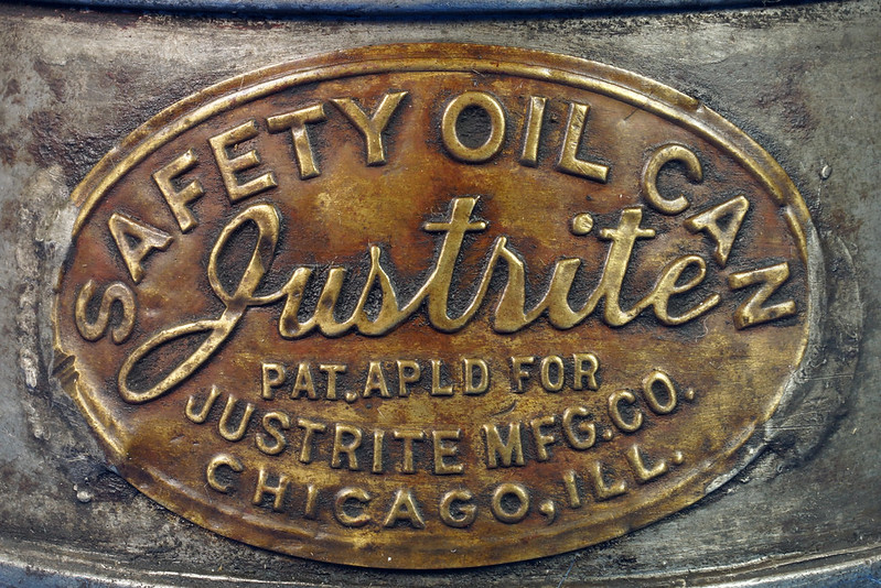 RD29023 Rare Antique Justrite Safety Can Brass Top with 2 Brass Badges No. 67659 DSC07125