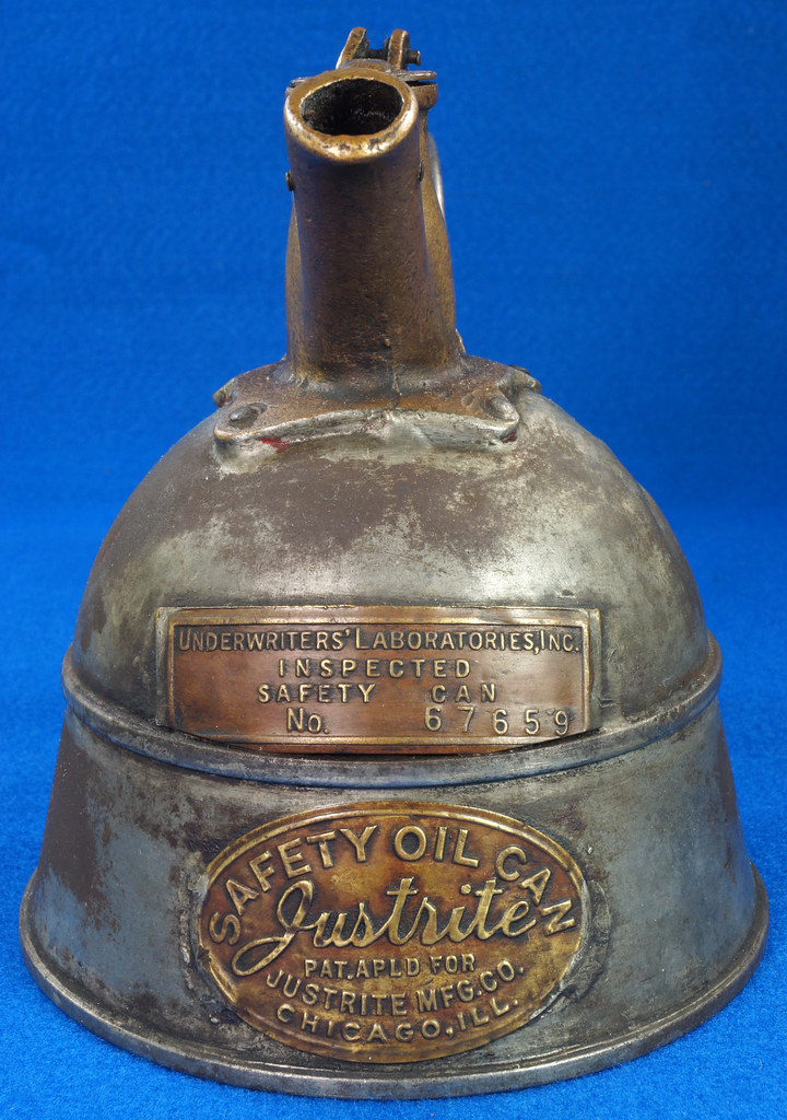 RD29023 Rare Antique Justrite Safety Can Brass Top with 2 Brass Badges No. 67659 DSC07122
