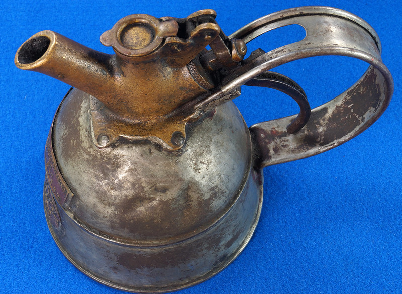 RD29023 Rare Antique Justrite Safety Can Brass Top with 2 Brass Badges No. 67659 DSC07119