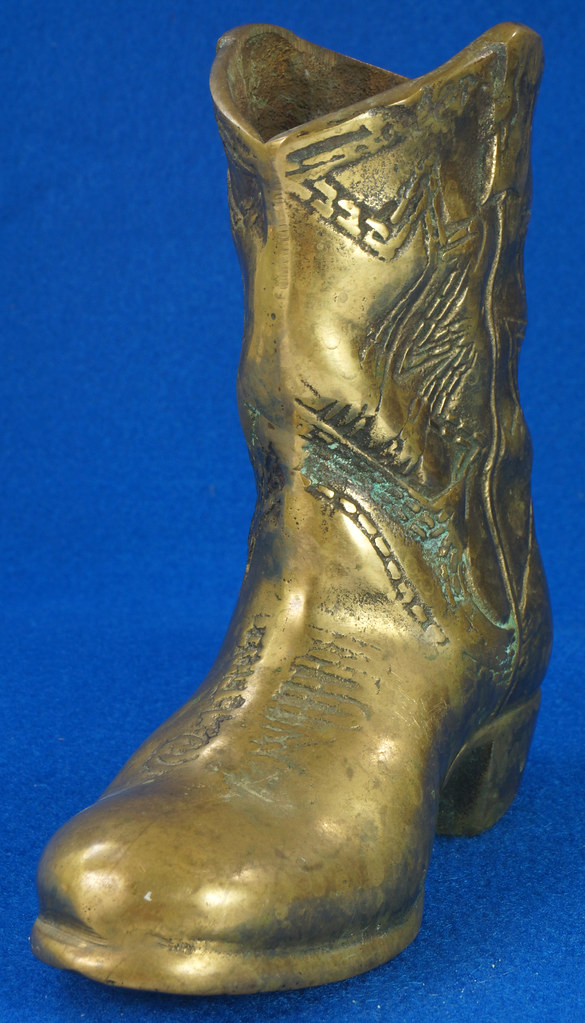 RD15817 Vintage Solid Brass Cowboy Western Boot with Patina San Francisco DSC07146