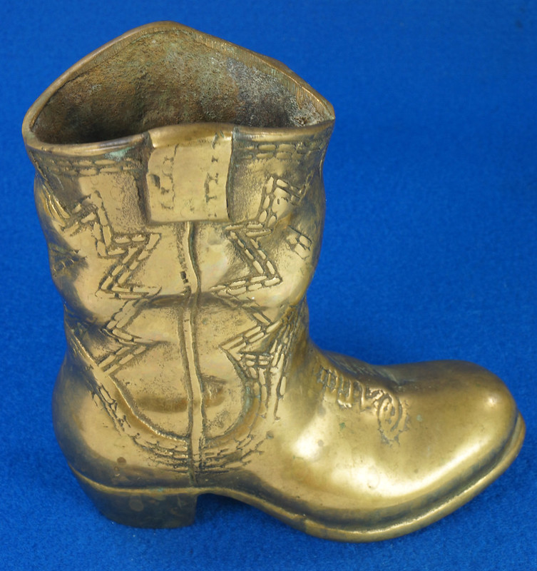 RD15817 Vintage Solid Brass Cowboy Western Boot with Patina San Francisco DSC07143