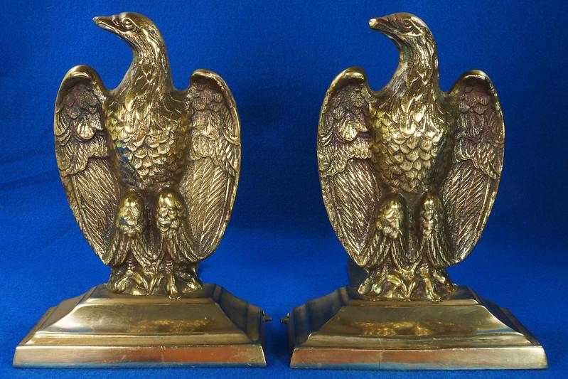 RD26171 Mid Century Set of 2 Vintage Brass Eagle Bookends DSC07171