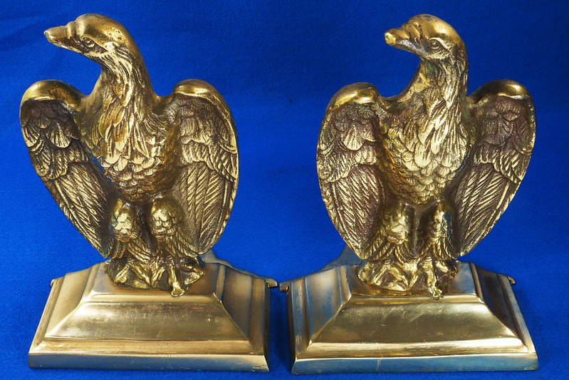 RD26171 Mid Century Set of 2 Vintage Brass Eagle Bookends DSC07168