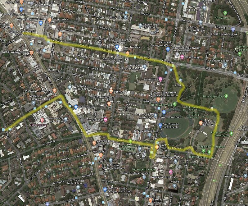 Map of North Sydney walk