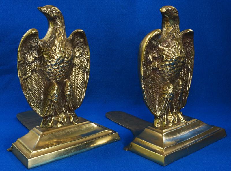 RD26171 Mid Century Set of 2 Vintage Brass Eagle Bookends DSC07173