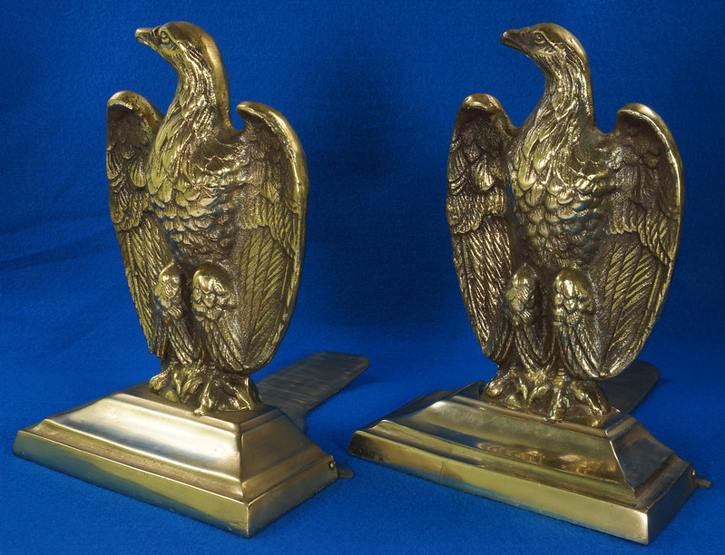 RD26171 Mid Century Set of 2 Vintage Brass Eagle Bookends DSC07172