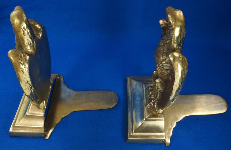 RD26171 Mid Century Set of 2 Vintage Brass Eagle Bookends DSC07169