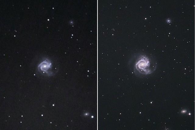 VCSE - Az M61 spirálgalaxis és benne az SN 2020jfo szupernóva 2019. márciusában és 2020. májusában - Fridrich János Mihály felvétele