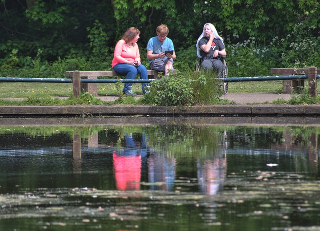 People reflections at Haslam Park