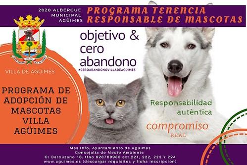 Cartel del Programa de Adopción de Mascotas de Agüimes
