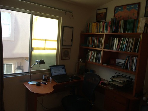 Writing at my home office in Aguascalientes