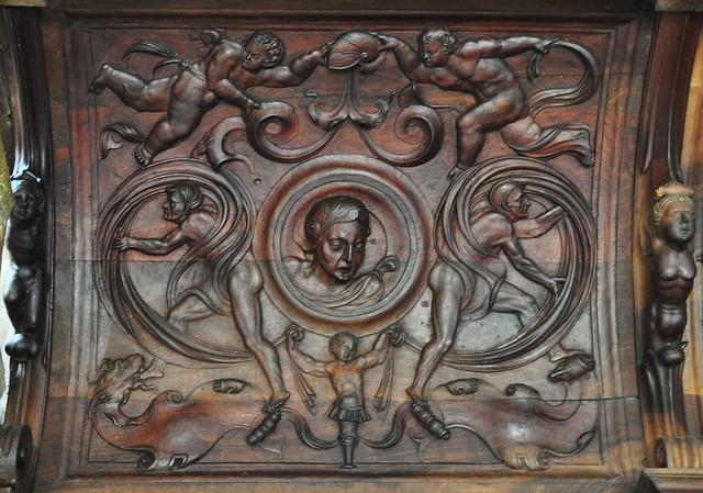 Sculpture des stalles, grotesques sculptées, chartreuse gothique Santa Maria de Miraflores, XVe siècle, Burgos, Castille-Léon, Espagne.