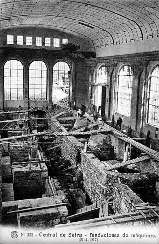 Imagen de las obras de la central de Seira en 1917