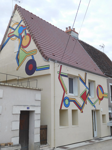 House with geometric painting in France