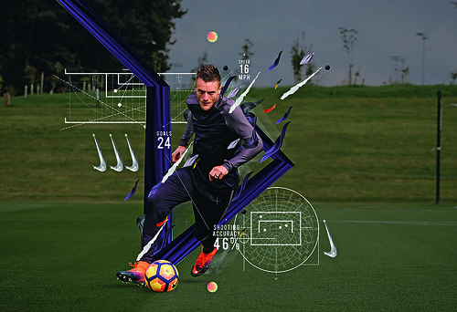 Nike Football statistics remix for Leicester City footballer Jamie Vardy, 2018. Nike commissioned Studio Blup to make animated videos for six footballers