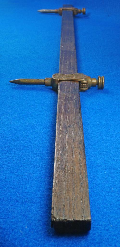 RD29247 Pair Antique Stanley Trammel Points Set Ornate Brass on 30 inch Stick DSC07335