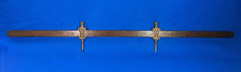 RD29247 Pair Antique Stanley Trammel Points Set Ornate Brass on 30 inch Stick DSC07323