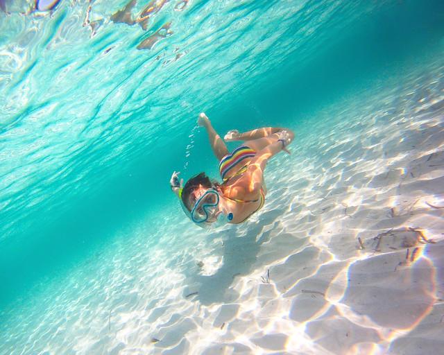 Debaixo d'água na praia de Son Saura, em Menorca