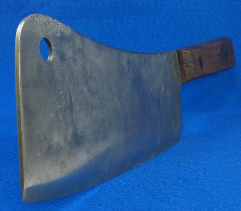 RD29677 Vintage High Carbon Steel Full Tang Meat Cleaver Wood Handle Brass Rivets DSC07354