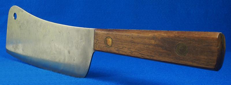 RD29677 Vintage High Carbon Steel Full Tang Meat Cleaver Wood Handle Brass Rivets DSC07352