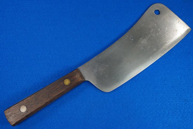RD29677 Vintage High Carbon Steel Full Tang Meat Cleaver Wood Handle Brass Rivets DSC07349
