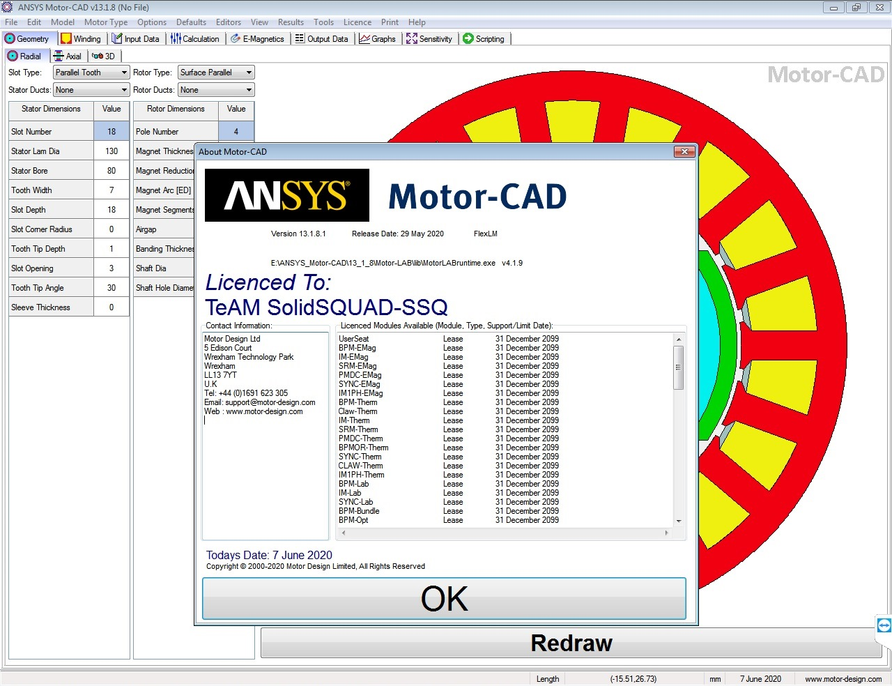 Working with ANSYS Motor-CAD v13.1.8 full license