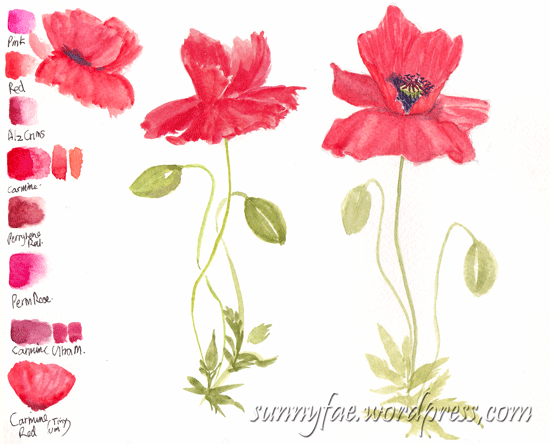 testing reds for poppies