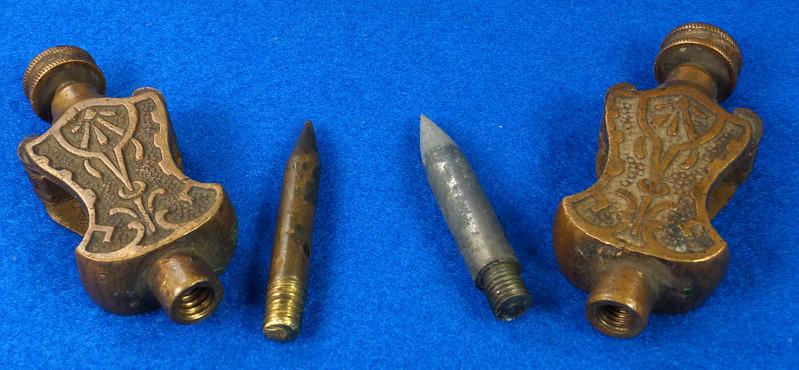 RD29247 Pair Antique Stanley Trammel Points Set Ornate Brass on 30 inch Stick DSC07332