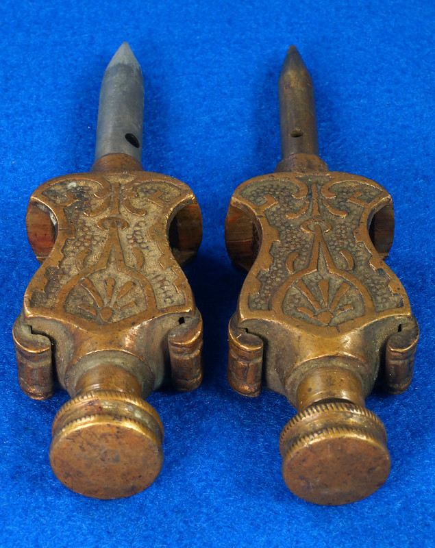 RD29247 Pair Antique Stanley Trammel Points Set Ornate Brass on 30 inch Stick DSC07329