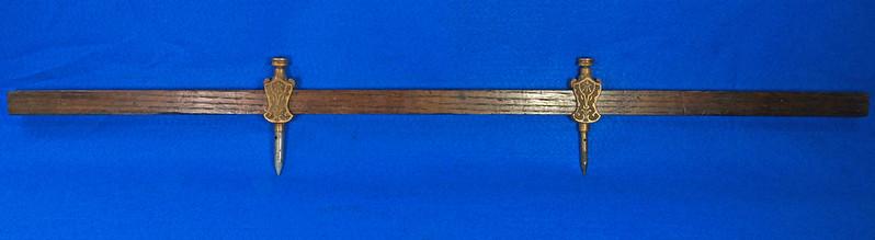 RD29247 Pair Antique Stanley Trammel Points Set Ornate Brass on 30 inch Stick DSC07325