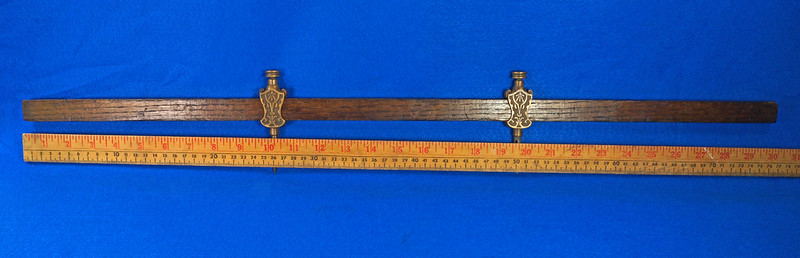 RD29247 Pair Antique Stanley Trammel Points Set Ornate Brass on 30 inch Stick DSC07324