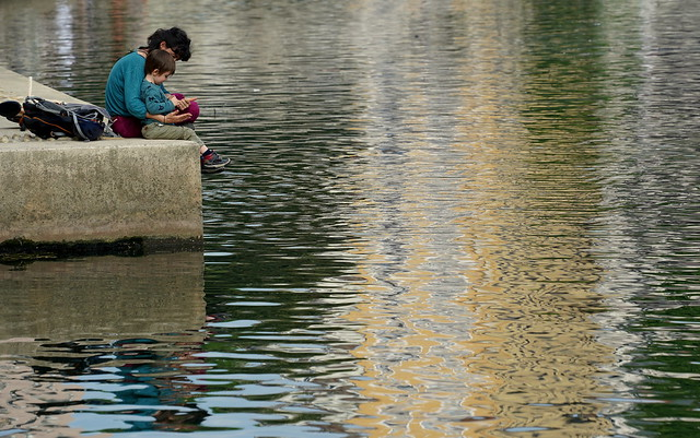Cuddles along a golden river