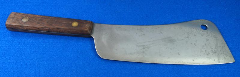 RD29677 Vintage High Carbon Steel Full Tang Meat Cleaver Wood Handle Brass Rivets DSC07350