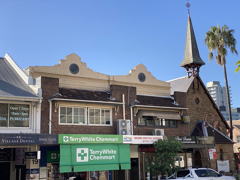St John the Baptist Anglican and shops