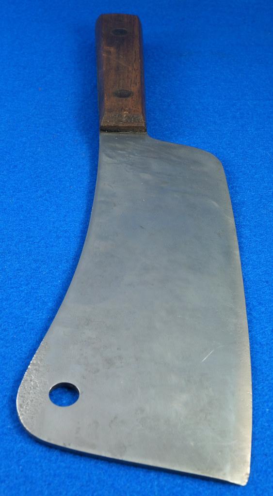 RD29677 Vintage High Carbon Steel Full Tang Meat Cleaver Wood Handle Brass Rivets DSC07355
