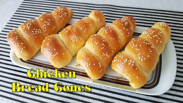 Bread Cones Recipe / Bread Cones Stuffed With Spicy Chicken / சிக்கன் பொடிமாஸ் / Shobanas Kitchen
