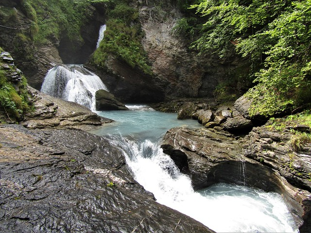 Reichenbachfall: final struggle Holmes and Moriarty at waterfall in Switzerland