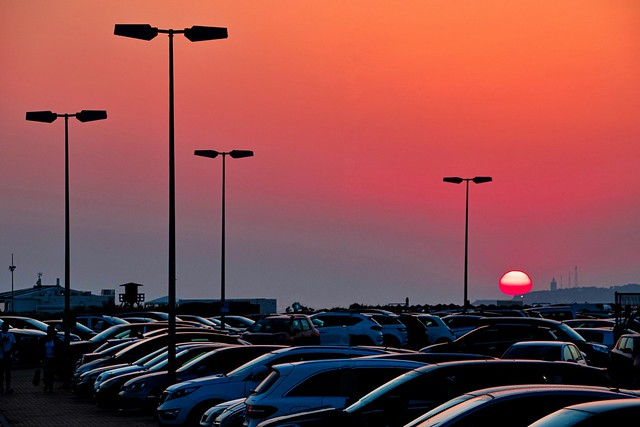Sunset in the parking