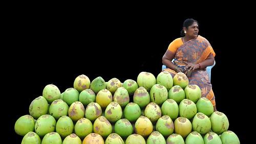 india tamilnadu mamallapuram coconutwoman asienmanphotography