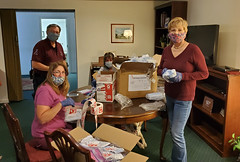 Rep. Zawistowski and members of the Suffield Rotary Club packaged 10,000 masks for the North Central Masks for CT giveaway.