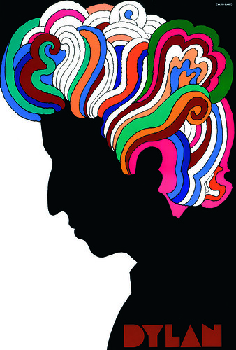 The Dylan poster for Columbia Records (1966), so emblematic of Glaser's 1960s style, made reference to a Persian miniature and Marcel Duchamp's self-portrait silhouette.